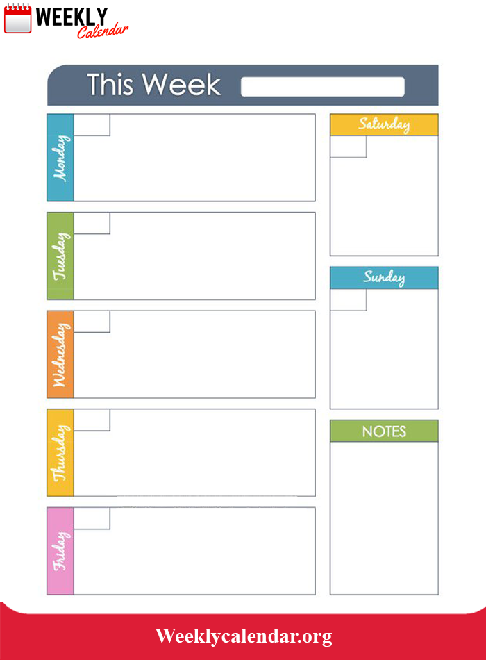 Weekly Calendar Template Word Doc