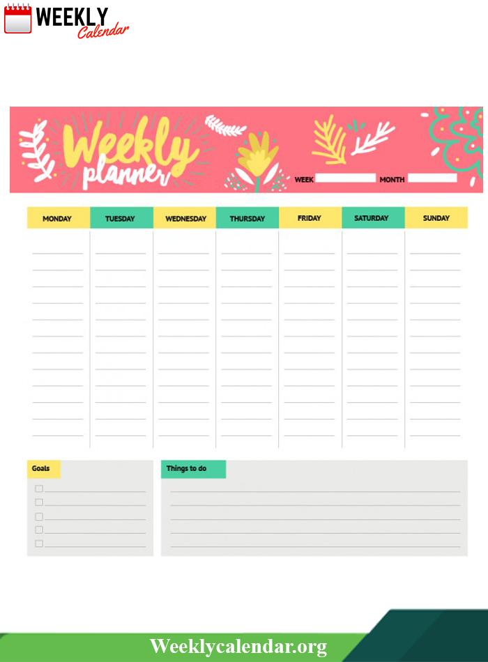 Printable Weekly Calendar For Students