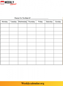 Blank Weekly Planner for Students