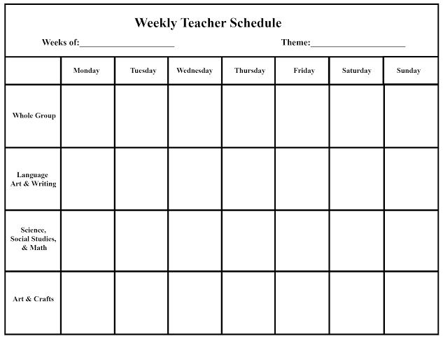 Blank Weekly Planner For Teacher