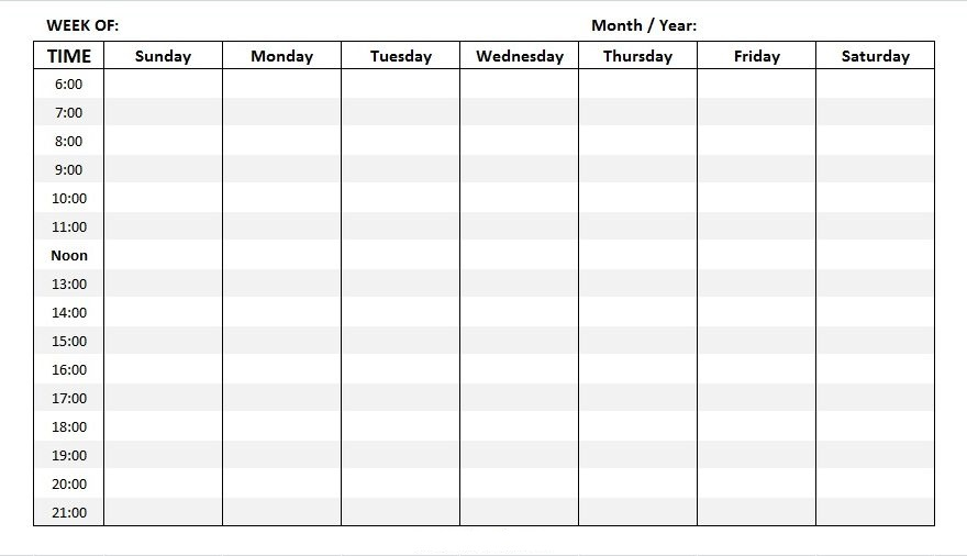 Free Weekly Schedule Template For Teachers