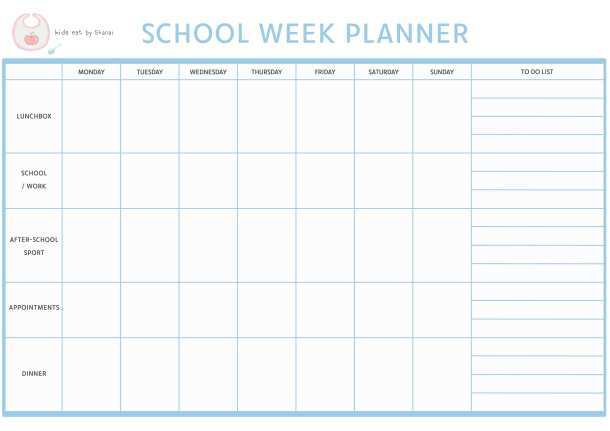 Weekly Planner For School