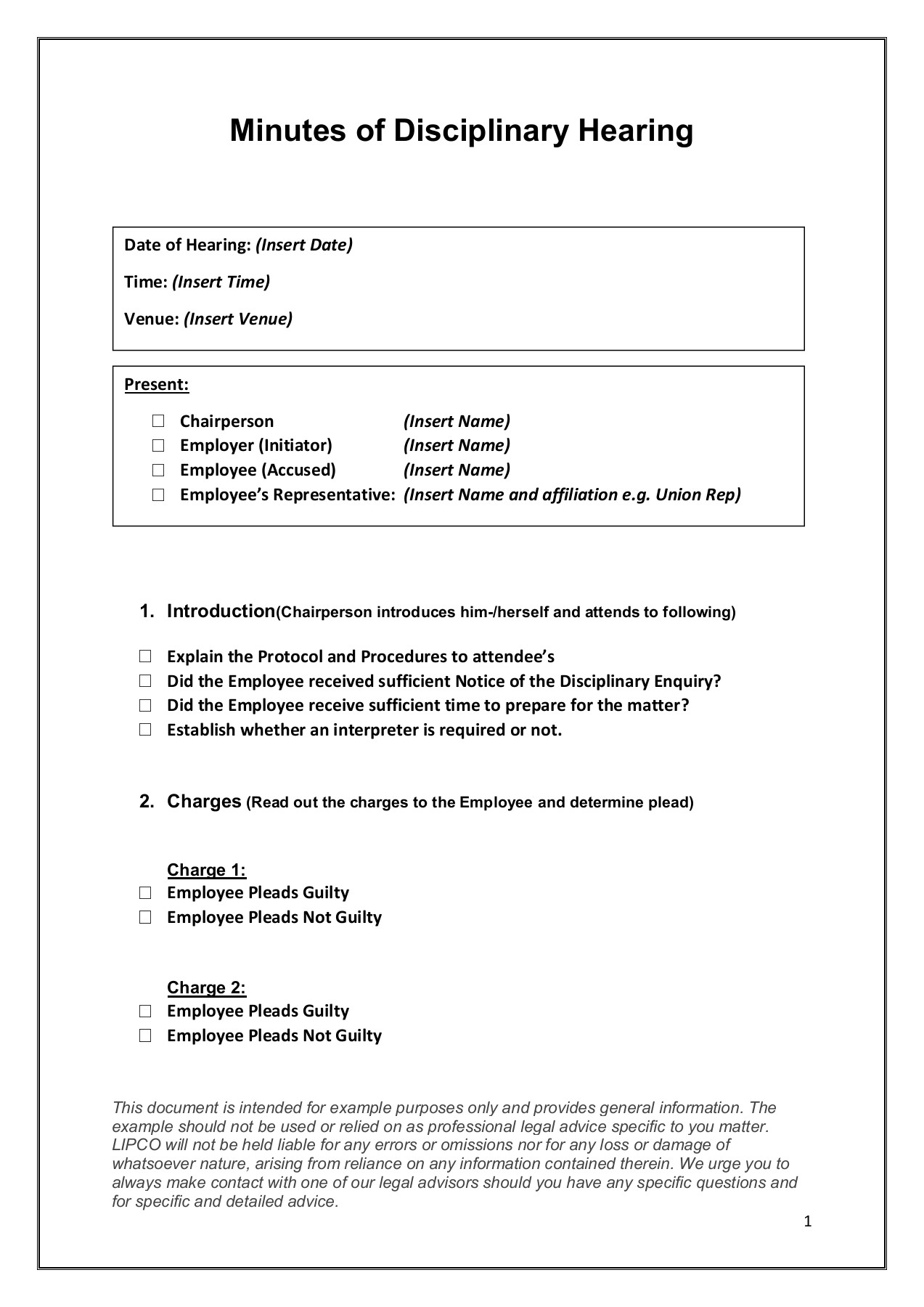 Disciplinary Meeting Minutes Template